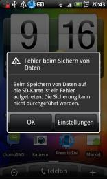 HTC Desire: Fehler beim Sichern von Daten (SD Karte nicht mehr  beschreibbar)