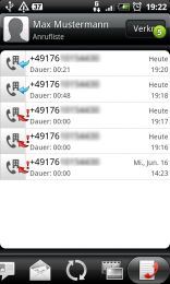 Anrufliste eines Kontaktes
