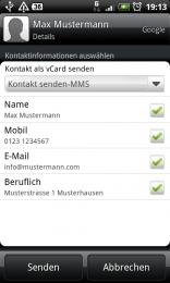 Kontakt per vCard versenden