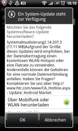 HTC Desire Update Meldung